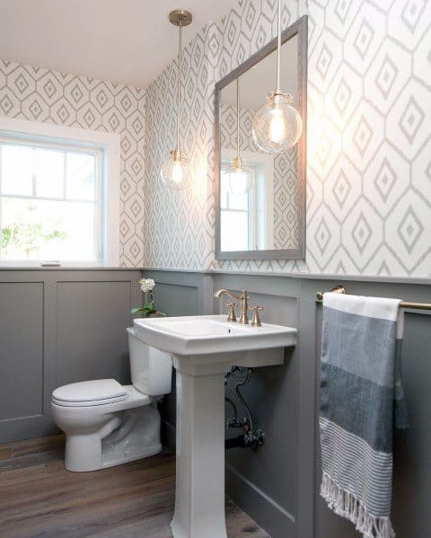 Double Glass Pendants Half Bathroom Lighting Design Ideas