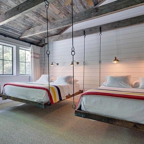Double Hanging Bed Ideas With Rustic Interior Decor Design