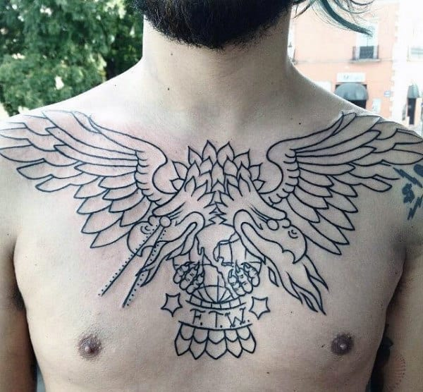 Double Headed Eagle Traditional Chest Mens Tattoos