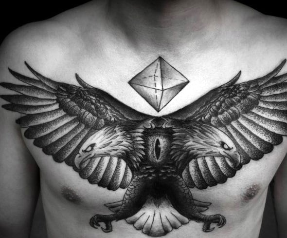 Double Headed Geometric Mens Eagle Upper Chest Tattoo