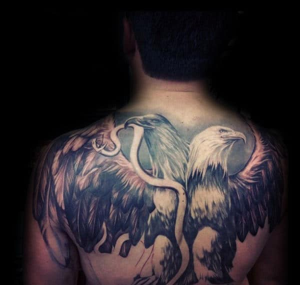 Double Headed Mexican Eagle Mens Back Tattoo