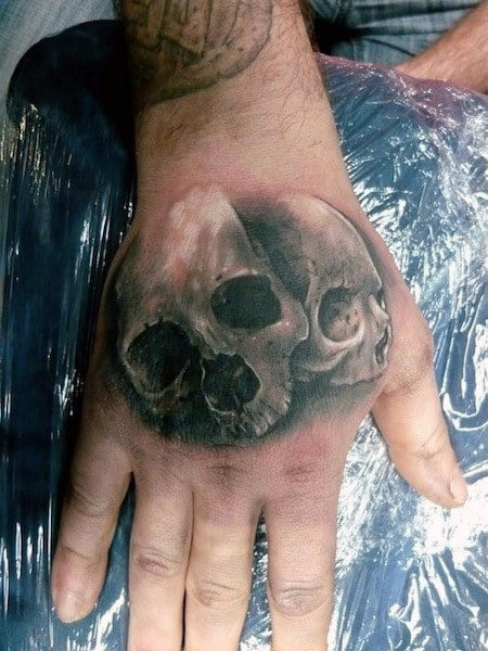 Double Skull Mens Hand Tattoos