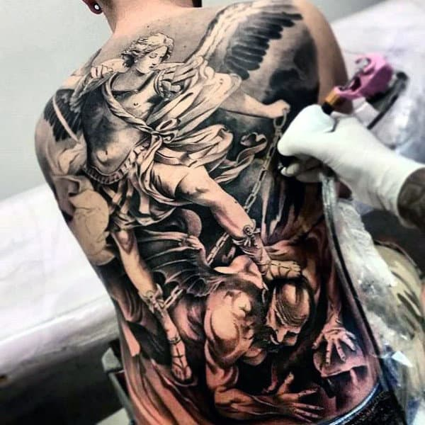 Double Toned Tattoo Of Greek God Killing Evil Mens Full Back