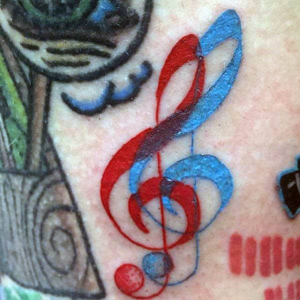 Double Treble Clef Mens Red And Blue Ink Small Tattoo Designs