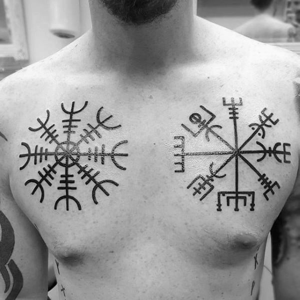 Double Viking Compass Mens Chest Tattoos