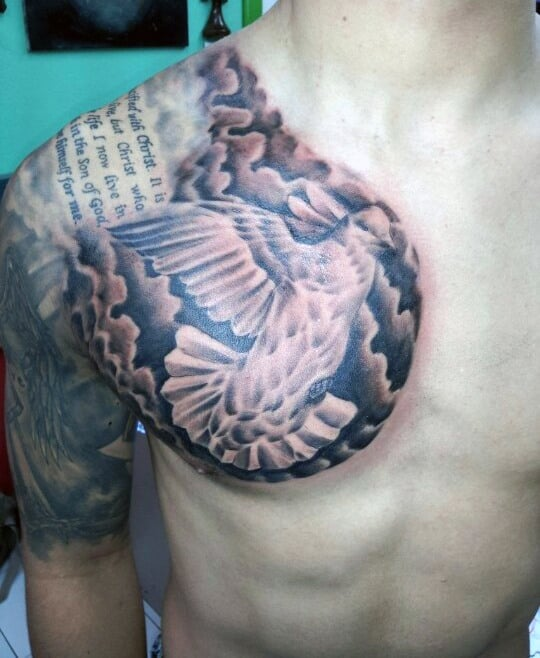 Dove Chest Tattoos On Man With Quote