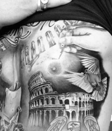 Dove Flying Over Roman Building Mens Chest Tattoos