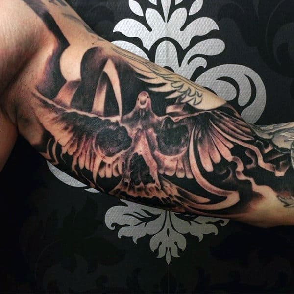 Dove Flying Tattoo With Skull For Men On Bicep