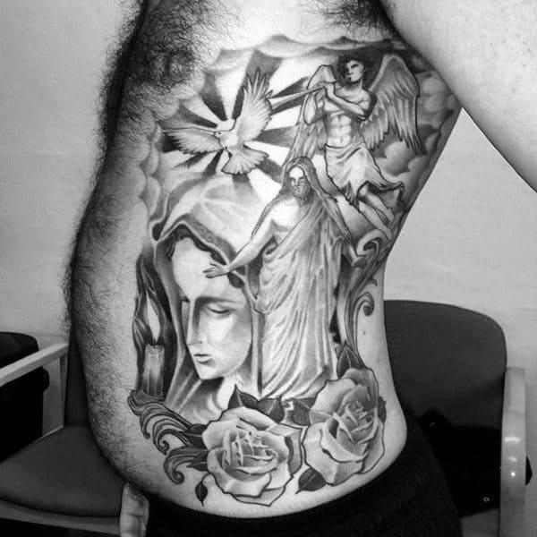 Dove Rose Angels Religious Tattoo Mens Torso