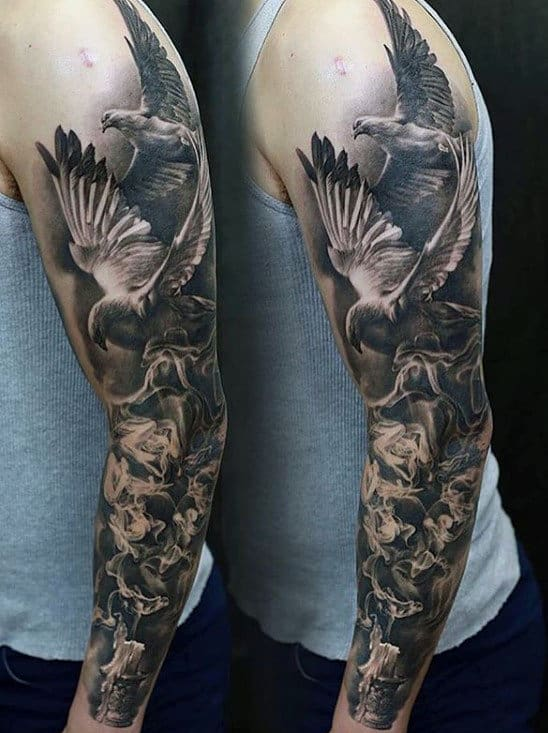 Doves With Burning Candle Unique Mens Sleeve Tattoo
