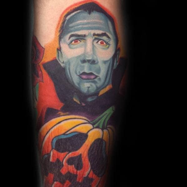Dracula Pumpkin Mens Arm Tattoo