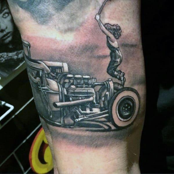 Drag Racing Hot Rod Tattoos For Men