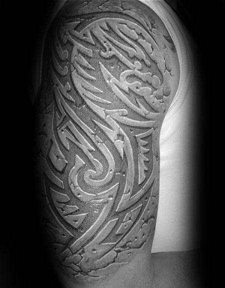 Dragon 3d Tribal Sick Half Sleeve Tattoos For Guys With Stone Design