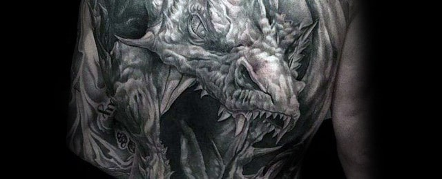 60 dragon back tattoo designs for men breath of power
