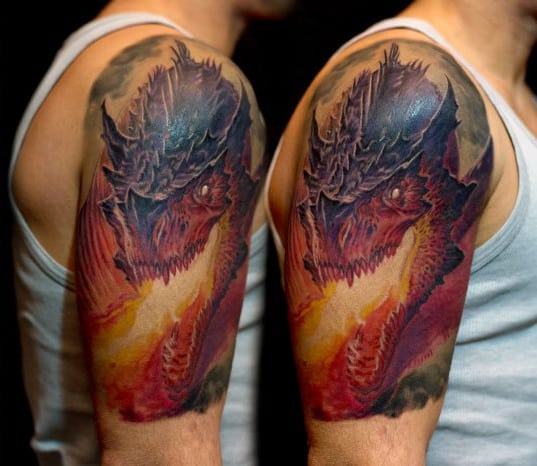 Dragon Breathing Fire Mens Arm Quarter Sleeve Tattoo