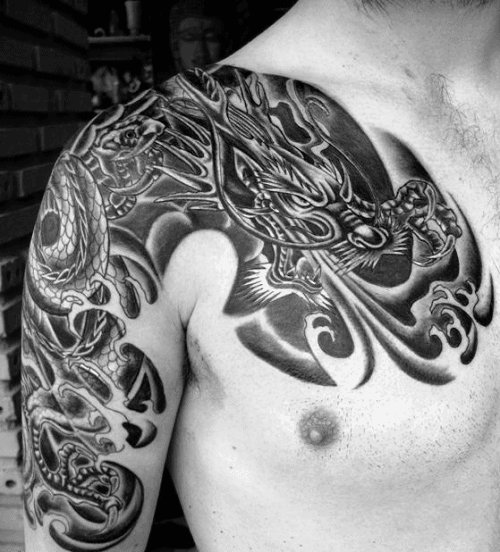 Dragon Breathing Fire Shaded Guys Shoulder Tattoo Deisgns