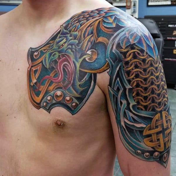 Men Chest And Upper Sleeve With Nice Flowers Tattoo: Top 100 Most Authentic Celtic Knot Tattoos [2020
