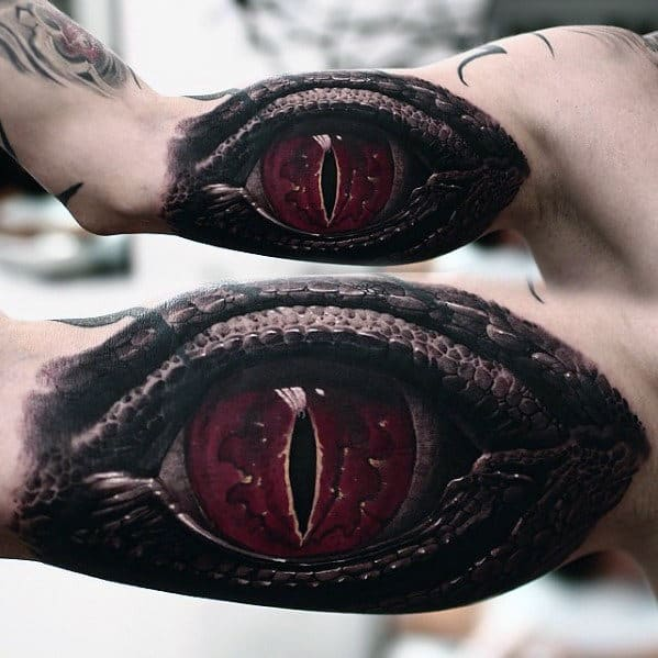 Dragon Eye 3d Hyper Realistic Mens Inner Arm Tattoo