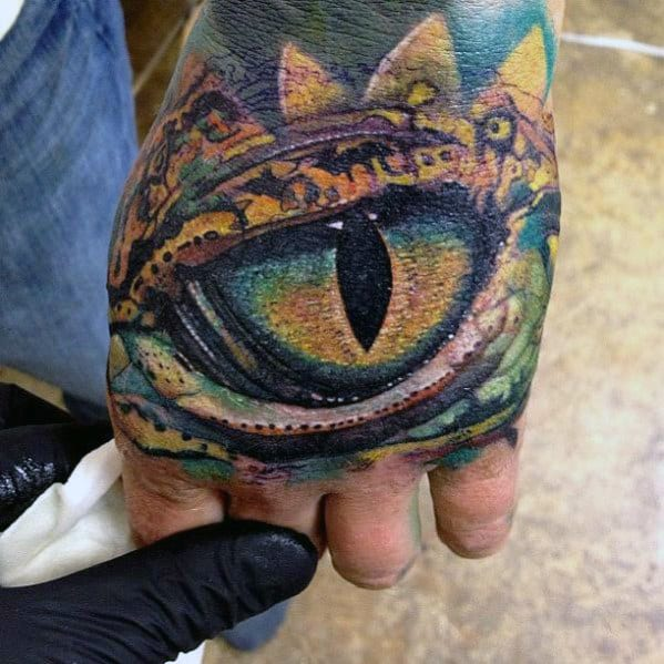 Dragon Eye 3d Mens Hand Tattoo Designs