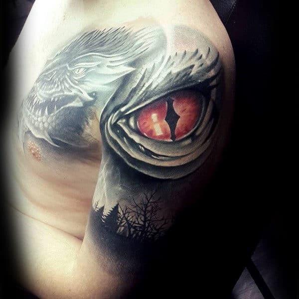 Dragon Eye 3d Tree Sleeve Mens Tattoo Ideas