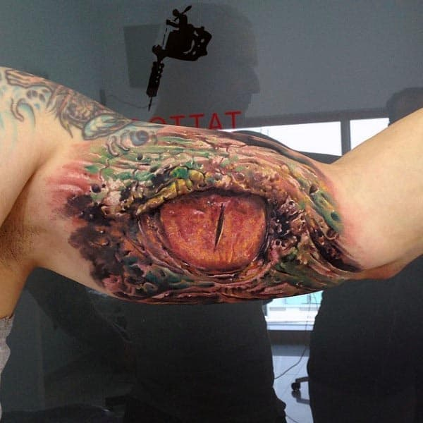 Dragon Eye Cool 3d Arm Tattoos For Guys