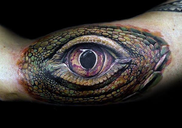 Dragon Eye Male Realistic Arm Tattoo