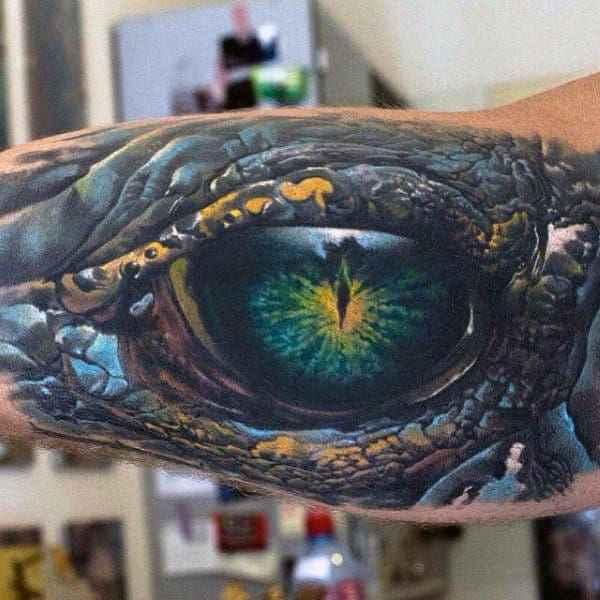 Dragon Eye Mens Colorful Realistic 3d Inner Arm Tattoos
