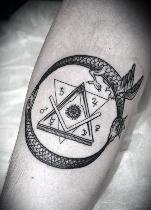 Dragon Flying Oer Symbols Ouroboros Mens Forearm Tattoo