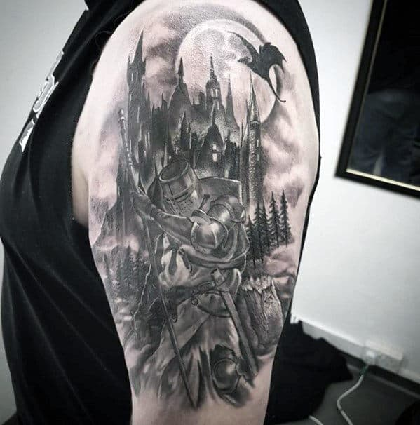Dragon Flying Over Castle With Knight Mens Arm Tattoos