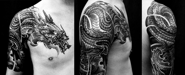 30 Dragon Half Sleeve Tattoos For Men Fire Spewing Design Ideas