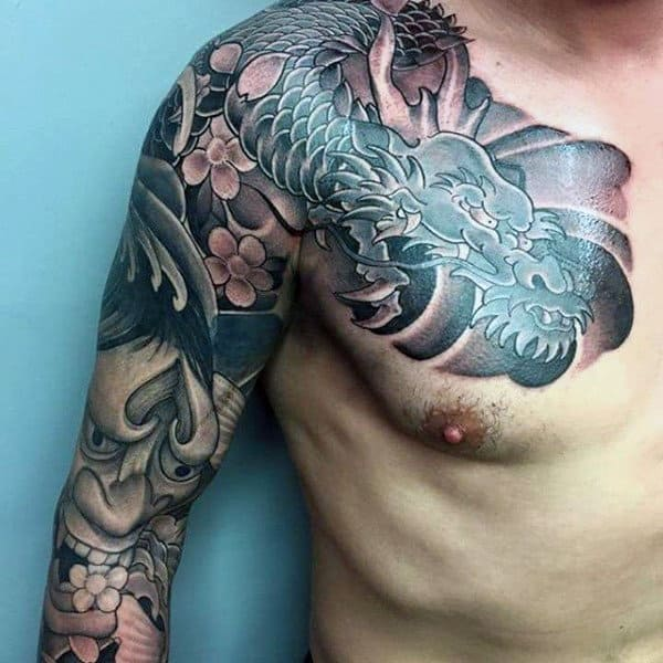 Dragon Hannya Mask Mens Sleeve Tattoo Ideas