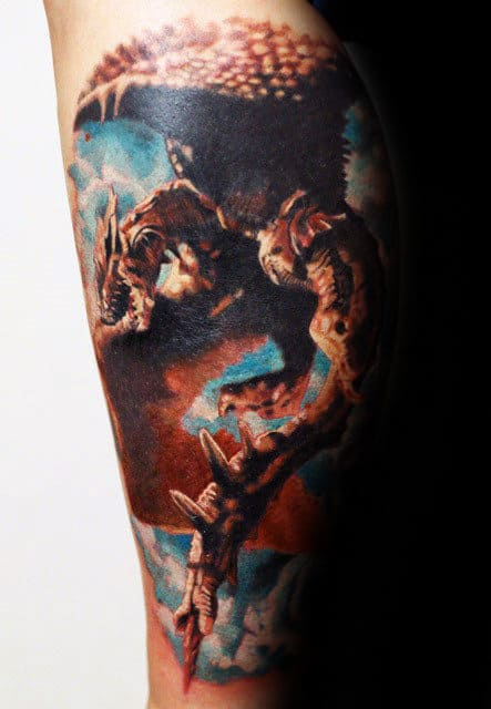 Dragon In The Clouds Realistic 3d Mens Leg Tattoos