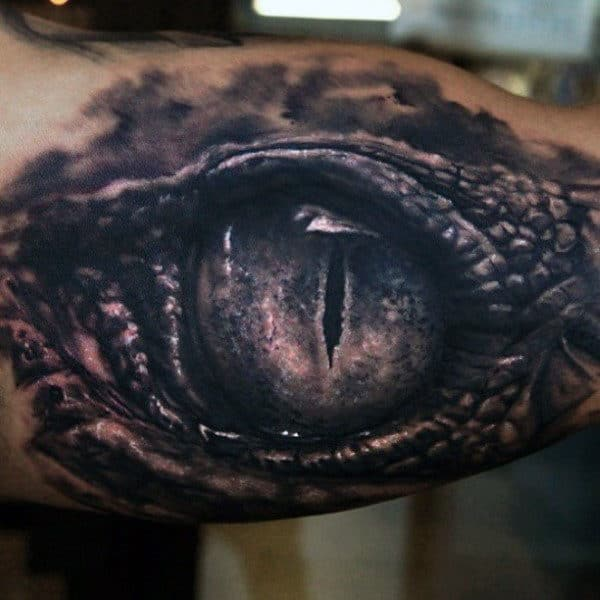 Dragon Inner Arm Eye Tattoo For Men