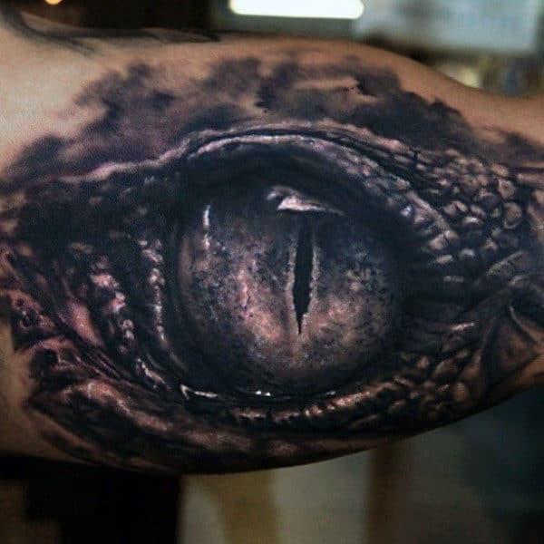 Dragon Inner Arm Eye Tattoo For Men
