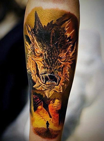 Dragon Lord Of The Rings Mens Forearm Sleeve Tattoo