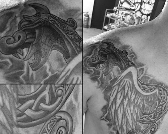 Dragon Mens Celtic Heavily Shaded Shoulder And Chest Tattoo