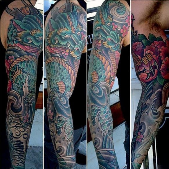 Dragon Mens Unique Sleeve Tattoo