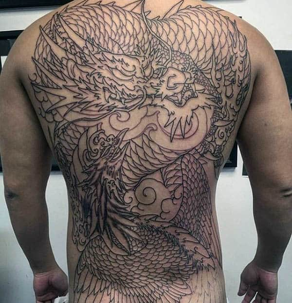 Dragon Phoenix Mens Full Back Tattoo With Black Ink Design
