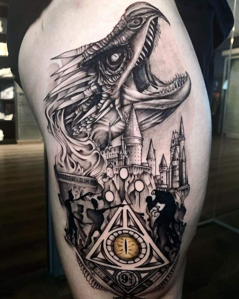 dragon realistic ink hogwarts deathly hallows tattoo