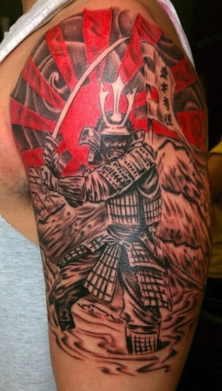 Dragon Samurai Men's Tattoo On Arm