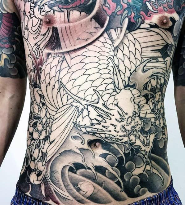 Dragon Shaded Male Japanese Chest Tattoo