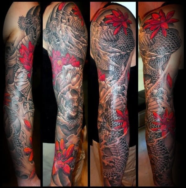 Dragon Skull Guys Japanese Sleeve Tattoo Ideas