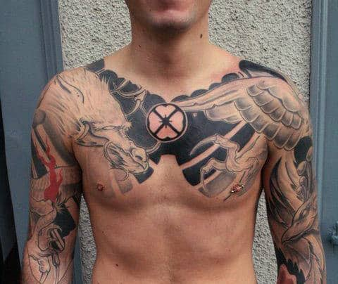 Dragon Tattoo Chest Mens