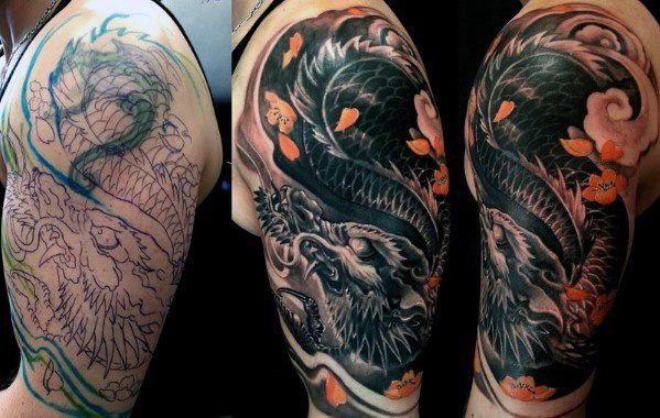 Dragon Tattoo Cover Up Sleeve Designs For Men