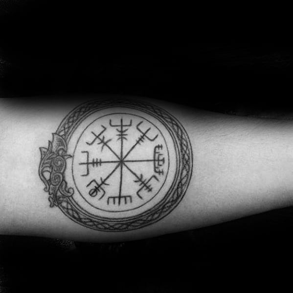 Dragon Viking Compass Circle Guys Forearm Tattoo