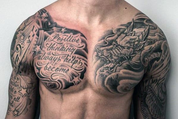 Dragon With Chest Quote Male Tattoo Ideas