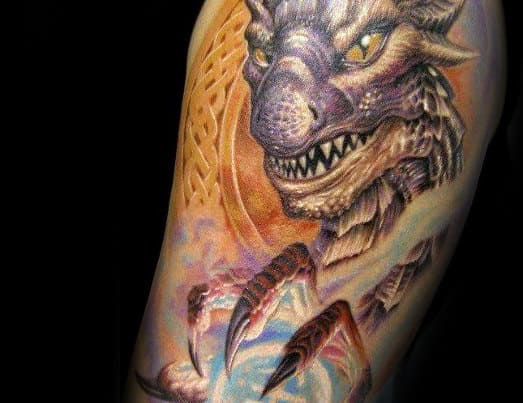 Dragon With Claw 3d Mens Quarter Sleeve Tattoo