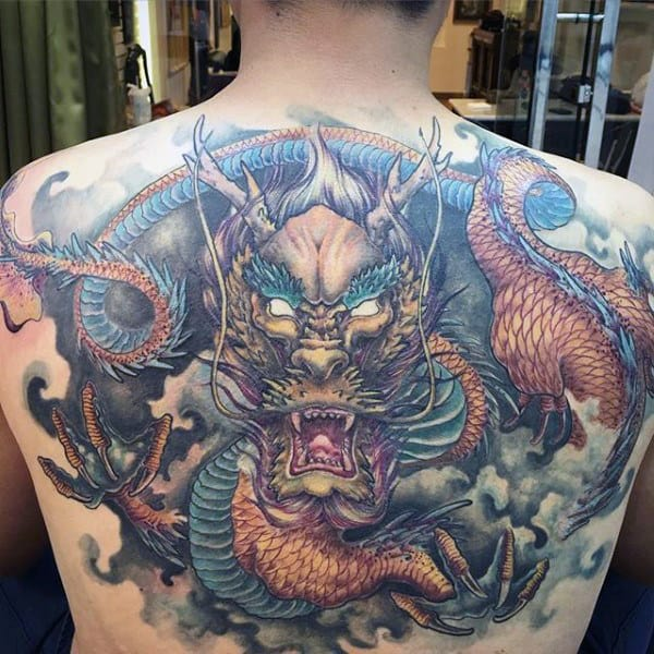 Dragon With Clouds Mens Upper Back Tattoos