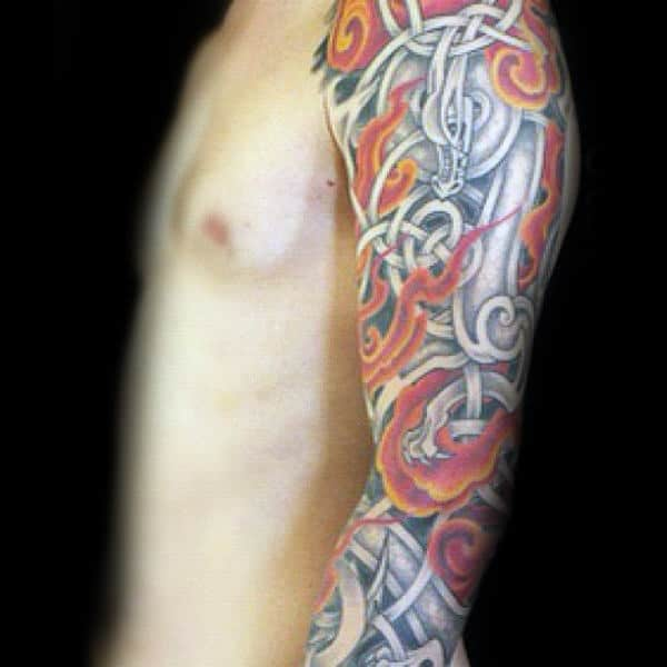 Dragon With Flames Guys Full Arm Celtic Sleeve Tattoo