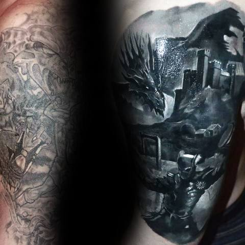 Dragon With Knight Mens Realistic 3d Tattoo Cover Up Sleeve